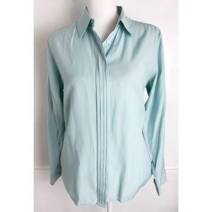 Pendleton • Mint Teal Pleated Button Up Blouse